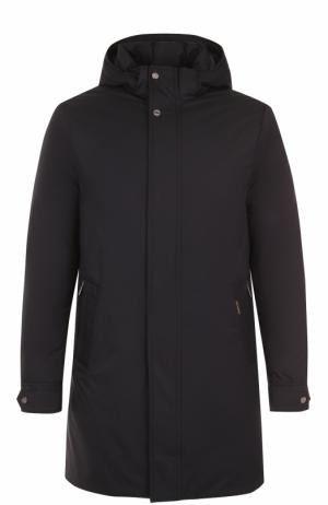 Пуховое пальто прямого кроя Moorer. Цвет: темно-синий