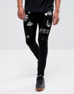 Criminal Damage Супероблегающие джинсы с рваной отделкой и принтом. Цвет: черный