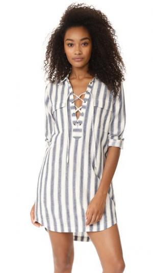 Платье-рубашка со шнуровкой Madewell. Цвет: голубой