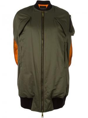 Куртка-бомбер без рукавов Erika Cavallini. Цвет: зелёный