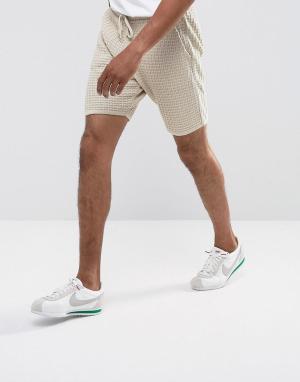 ASOS Серо-коричневые фактурные шорты. Цвет: бежевый