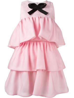 Короткое платье с оборками Daniele Carlotta. Цвет: розовый и фиолетовый