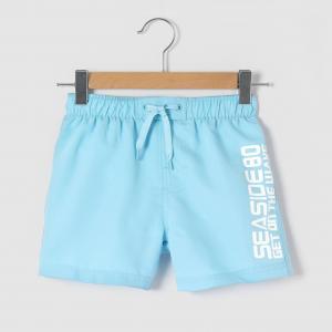 Плавки-шорты с надписью, 3-12 лет R édition. Цвет: голубой