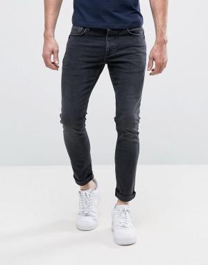 River Island Выбеленные черные джинсы скинни. Цвет: черный