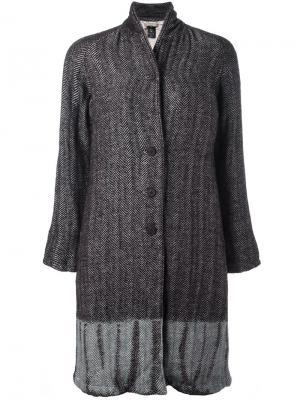 Пальто в стиле тай-дай с узором елочкой Suzusan. Цвет: коричневый