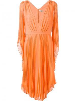 Плиссированное платье с V-образным вырезом Halston Heritage. Цвет: жёлтый и оранжевый