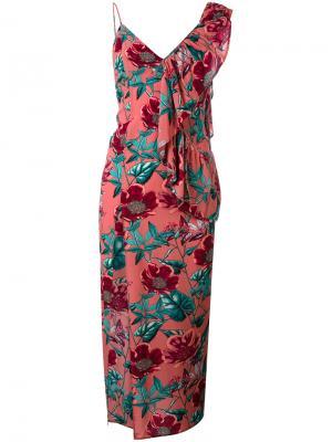 Асимметричное платье с принтом flamenco For Love And Lemons. Цвет: розовый и фиолетовый