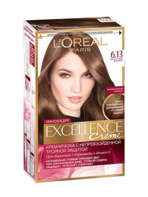 Стойкая крем-краска для волос Excellence, оттенок 6.13, Тёмно-русый бежевый L'Oreal Paris. Цвет: коричневый