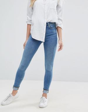Jack Wills Супероблегающие укороченные джинсы с завышенной талией. Цвет: синий