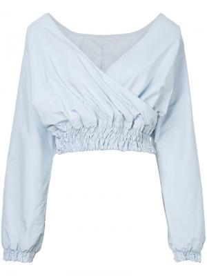 Укороченная блузка с V-образным вырезом Cityshop. Цвет: синий