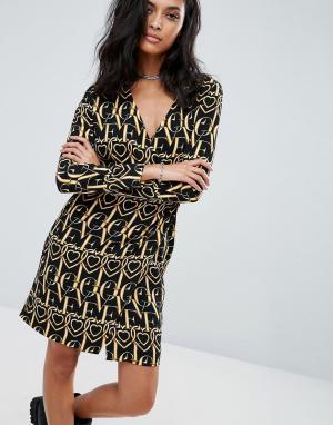 Love Moschino Платье с длинным рукавом и принтом. Цвет: черный