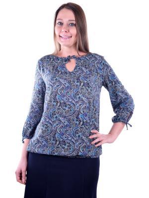 Блузка женская OLBE. Цвет: черный, бирюзовый, синий