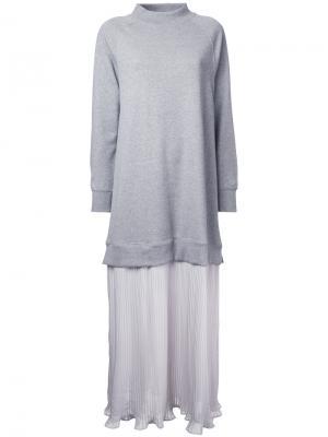Платье-толстовка Maison Mihara Yasuhiro. Цвет: серый