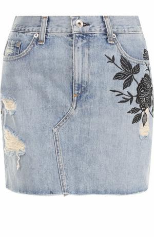 Джинсовая юбка с вырезом Rag&Bone. Цвет: голубой