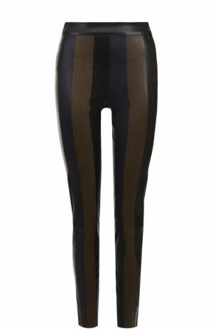 Кожаные брюки-скинни DROMe. Цвет: разноцветный