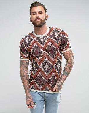 ASOS Трикотажная футболка с гобеленовым дизайном. Цвет: коричневый