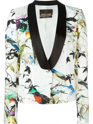 Пиджак-смокинг с принтом птиц Roberto Cavalli. Цвет: телесный
