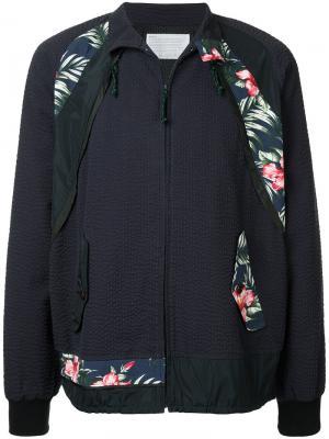 Куртка на молнии с цветочными заплатками Kolor. Цвет: синий