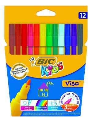 Цветные фломастеры BIC Visa, 12 цветов. Цвет: голубой, желтый