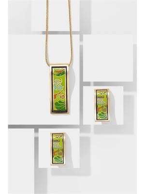 Набор украшений Весна в Париже: цепочка с кулоном и серьги Nothing but Love. Цвет: зеленый, оранжевый, салатовый