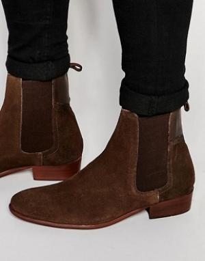 Hudson London Замшевые ботинки челси Watts. Цвет: коричневый