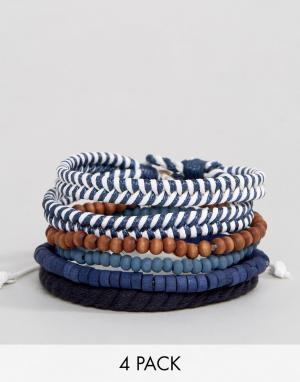 Icon Brand Набор из 4 браслетов в морском стиле. Цвет: темно-синий