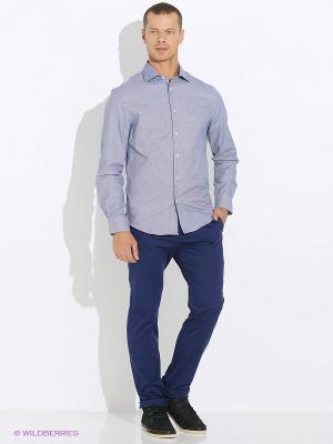 Рубашка INCITY. Цвет: белый, синий
