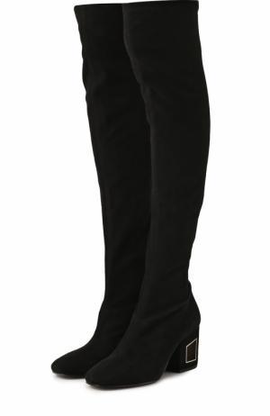 Замшевые ботфорты на декорированном каблуке Vic Matie. Цвет: черный
