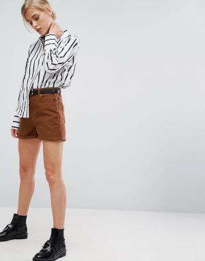 ASOS Шорты в винтажном стиле с ремнем. Цвет: коричневый
