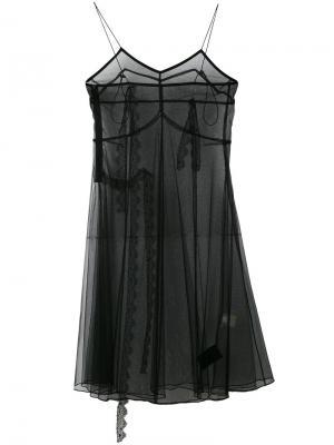 Прозрачное платье шифт Quetsche. Цвет: чёрный