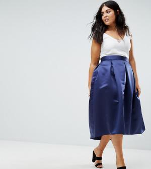 Closet Plus Атласная плиссированная юбка миди для выпускного. Цвет: темно-синий