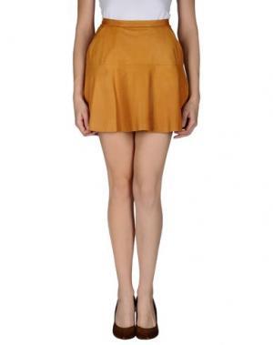 Кожаная юбка LAGERFELD. Цвет: охра