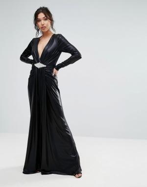 Forever Unique Платье макси с глубоким вырезом. Цвет: черный