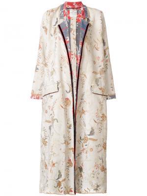 Объемное пальто с цветочным узором Forte. Цвет: многоцветный