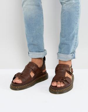 Dr Martens Коричневые сандалии Hayden. Цвет: рыжий