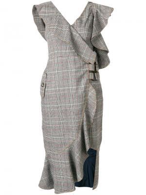 Платье в клетку с оборками Self-Portrait. Цвет: телесный