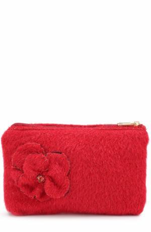 Клатч из шерсти с цветочной аппликацией I Pinco Pallino. Цвет: красный
