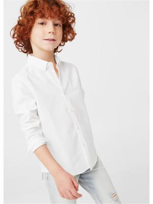 Рубашка Mango kids. Цвет: белый, прозрачный