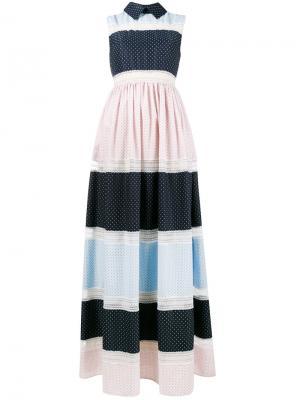Длинное платье без рукавов с рисунком Huishan Zhang. Цвет: синий