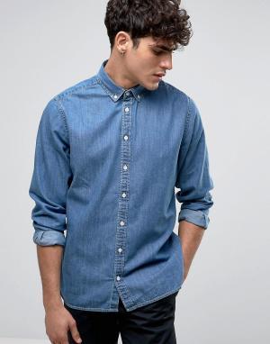 Casual Friday Джинсовая рубашка классического кроя. Цвет: синий