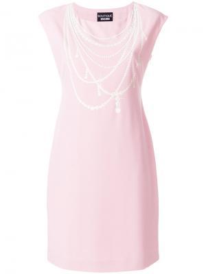 Платье с жемчужным ожерельем Boutique Moschino. Цвет: розовый и фиолетовый