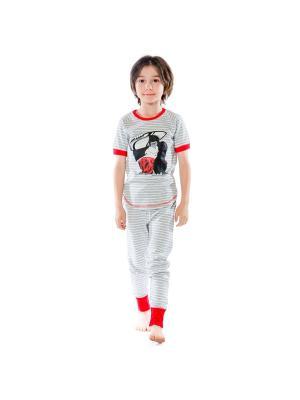 Пижама Deux par. Цвет: черный, красный, светло-серый