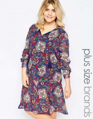 Diya Свободное платье с удлиненной кромкой и принтом пейсли Plus. Цвет: синий