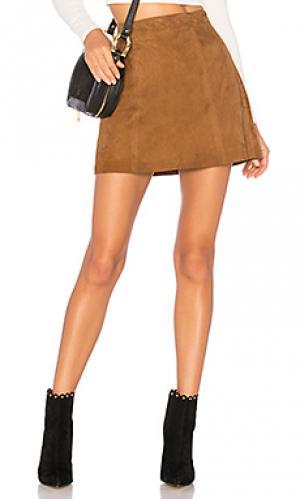 Замшевая мини юбка flore Muubaa. Цвет: цвет загара