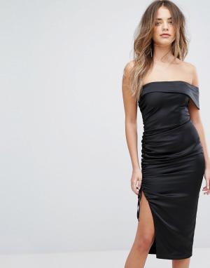 Lavish Alice Атласное платье-бандо миди с оборками. Цвет: черный