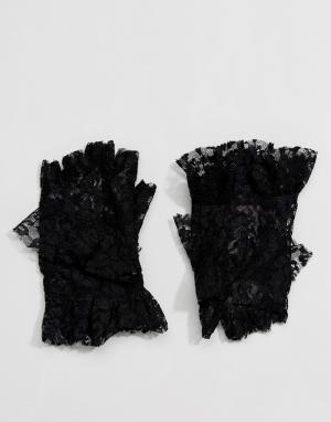 ASOS Кружевные перчатки без пальцев с рюшами. Цвет: черный