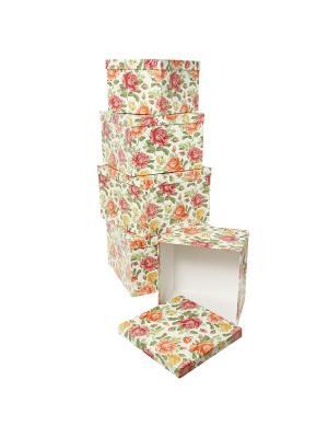 Коробка картонная, набор из 5 шт. 22х22х16 - 30х30х20 см. Цветущие розы. VELD-CO. Цвет: зеленый, молочный, светло-коралловый