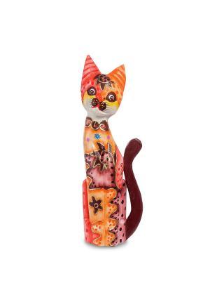 Статуэтка Кошка 40см (албезия, о.Бали) Decor & gift. Цвет: оранжевый