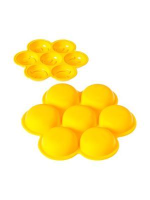 Форма силиконовая 7 ячеек, 14,5х2см, Смайл. Vetta. Цвет: желтый