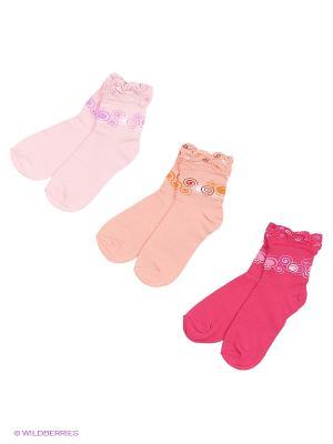 Носки, 3 пары Гамма. Цвет: коралловый, малиновый, розовый